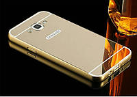 Чехол для Galaxy J7 2015 / Samsung J700 зеркальный золотистый