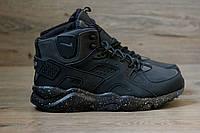 Зимние кроссовки в стиле Nike Air Huarache нубук высокие черные
