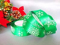 """Атласная лента 2,5 см, """"Снежинка"""", цвет зеленый"""