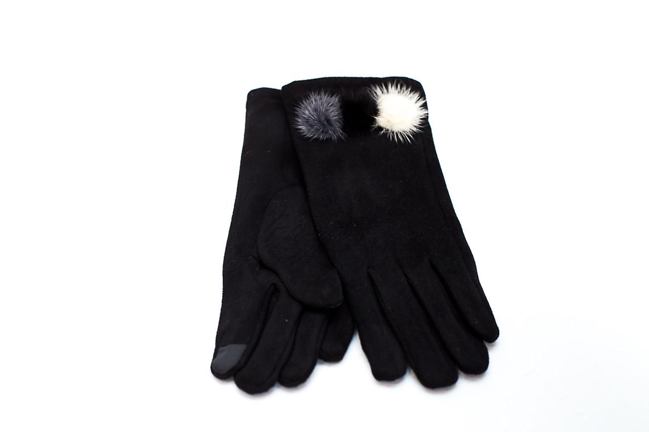 Серые перчатки из вискозы