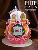 Свеча 2017 новогодняя, ручной работы, красиво горит и украшает интерьер