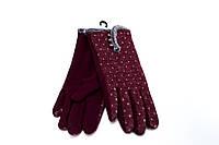 Женские перчатки бордовые трикотаж  S, M, L