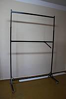 Стойка (вешалка) двух ярусная для презентации одежды. Высота регулируется: от 1800 мм до 2350 мм. Ширина 2000