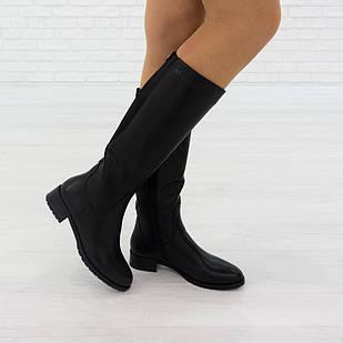 Повседневные женские сапоги 36 размер из натуральной кожи на байке Woman's heel черные на низком каблуке