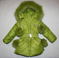 Зимнее пальтишко на девочку 1-2,2-3 года натуральная опушка