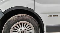 Opel Vivaro 2001-2015 гг. Накладки на колесные арки (4 шт, черные) 2007-2015, черный металл