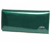 Оригинальный лаковый кожаный кошелек ST в темно зеленом цвете (15121)
