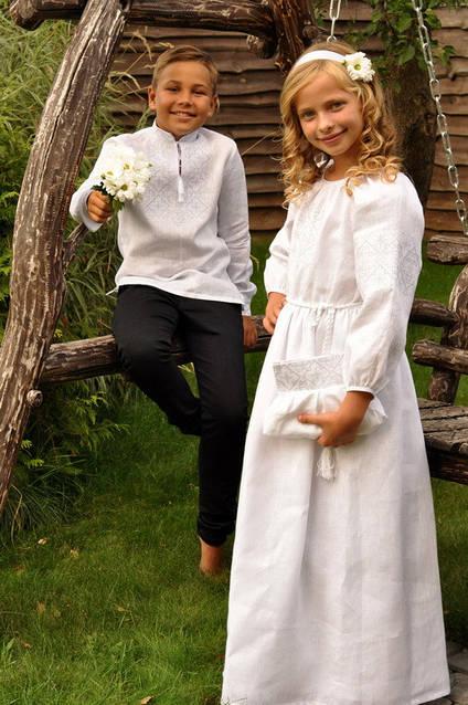 Комплект детских вышиванок белым по белому ДМ01/1-211 и ДП10-211, фото 4