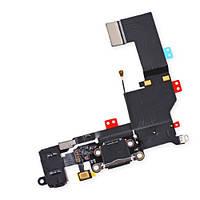 Шлейф для iPhone 5S, с разъёмом зарядки, коннектором наушников и микрофоном, черный