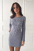 Cтильное облегающее платье с жемчугом