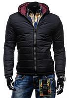 Черная дутая зимняя куртка на синтепоне с капюшоном