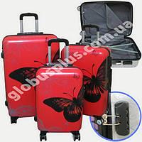 """Набор чемоданов 2+1 в подарок, Поликарбонат """"Бабочка"""""""