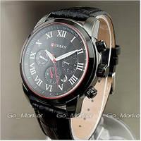 Кварцевые стильные часы Curren на кожаном ремешке Кварцевые стильные часы Curren на кожанном ремешке Черный