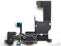 Шлейф для iPhone 5C, с разъёмом зарядки, коннектором наушников и микрофоном, чёрный