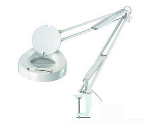 Лупа-лампа 5 диоптрий 130мм с люминисцентной подсветкой на струбцине косметологическая 8064D-1CP