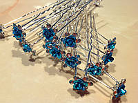 Шпилька для волос с камнями голубая