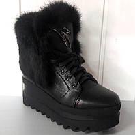 Ботинки-сникерсы зимние женские кожаные с опушкой на шнурке марсала/черные W0005