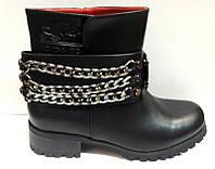 Ботинки женские осенние с цепочкой чёрные KF0396
