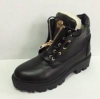 Ботинки женские стильные зимние кожаные черные розовые AL0038