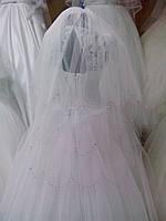 """Свадебная фата """"Американка-3"""" со стразами (длина 1 м) белая"""