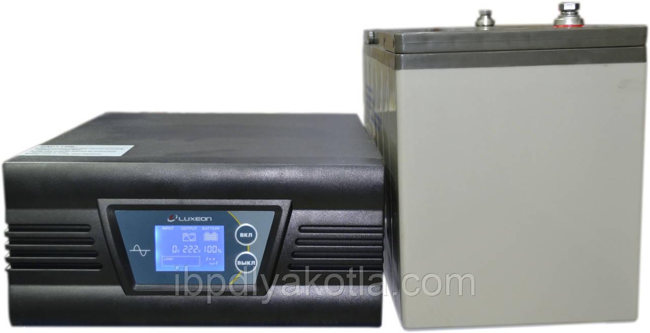 Комплект резервного питания ИБП Luxeon UPS-1000ZD + АКБ Vimar BG110-12 110Ah для 8-13ч работы газового котла