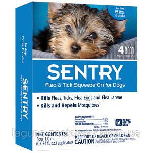 SENTRY Сентри капли от блох, клещей и комаров для собак весом до 7 кг, 3 пипетки в упаковке