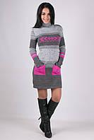 Женское вязаное платье с карманами. Размер 44-46, 48-50. В наличии 2 цвета, фото 1