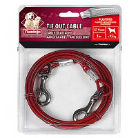 Karlie-Flamingo (Карли-Фламинго) TIE OUT CABLE поводок для собак до 15 кг, металлический трос в пластиковой оплетке и карабинами, 5 м