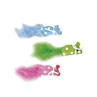 Karlie-Flamingo (Карли-Фламинго) POLKA MOUSE игрушка для кошек, мышка с пером и кошачьей мятой, ткань, 11х1х2,5см