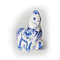 Конь-буян фарфор, роспись кобальтом. Символ 2014 года деревянной синей лошади.