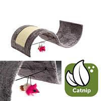 Karlie-Flamingo (Карли-Фламинго) KITTY WAVE когтеточка для кошек игровая площадка с игрушкой, волна, плюш/сизаль,54х36х15 см