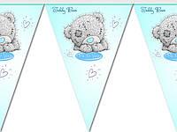 """Флажки гирлянды  """" Мишка Тедди """". Купить карнавальные бумажные гирлянды"""