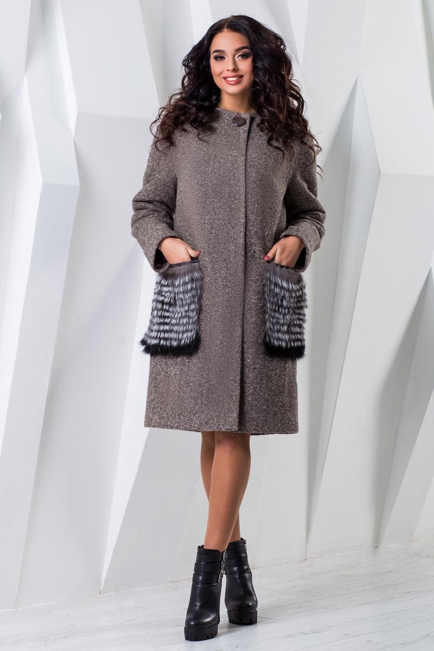 Теплое женское зимнее пальто чернобурка/енот (р. 44-60) арт. 966 Тон 78