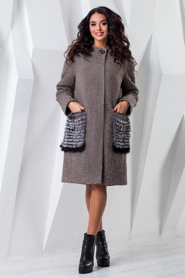 ce7b0a5add25d0 Теплое женское зимнее пальто чернобурка/енот (р. 44-60) арт. 966 Тон ...