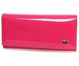 Оригинальный лаковый кожаный кошелек ST в стильном розовом цвете (15124)