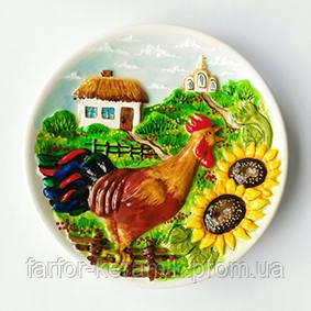декоративная тарелка петух на плетне пример росписи