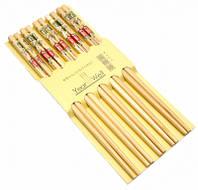 Палочки для еды деревянные с цветным рисунком
