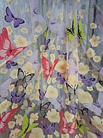 Тюль Бабочки фиолетовые