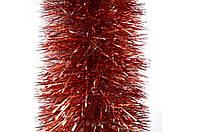 Новогодний дождик красный с серебром 150 мм Польша