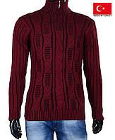 Вязанный мужской свитер на молнии.Полустойка ворот.