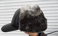 Мужская зимняя шапка ушанка с козырьком
