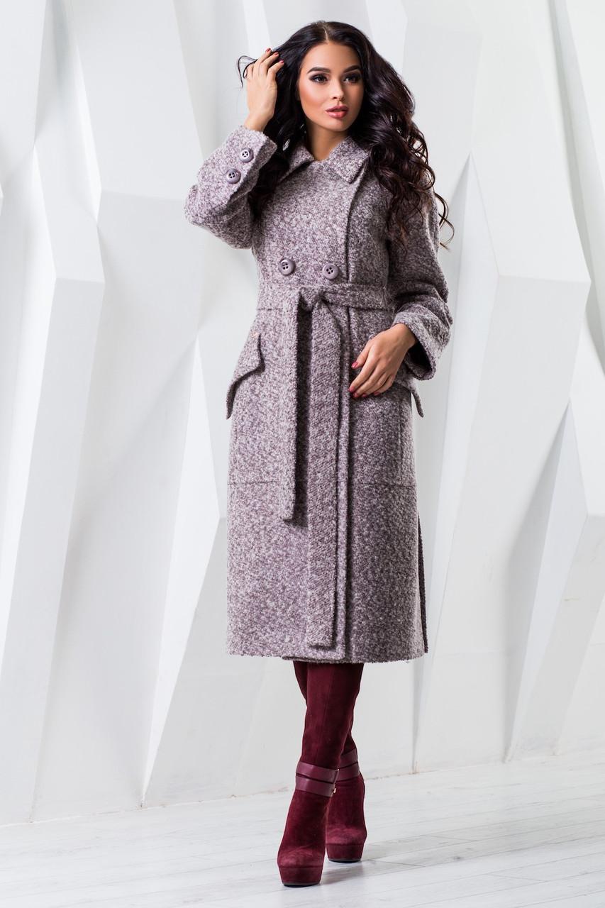 Женское длинное шерстяное демисезонное пальто р. 44-54 арт. 983 Тон 42