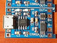 Модуль зарядки USB - Li-ion аккумулятора (18650 и др.) с защитой. 03962A LTC4056 micro USB Li-ion charger, фото 1