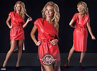 Кожаное платье красное