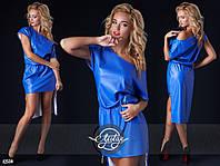 Синее платье кожзам асимметрия