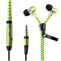 Наушники Zipper стерео с микрофоном (змейка), фото 1