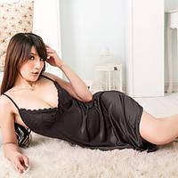 Ночная рубашка атлас+стринги Черный цвет