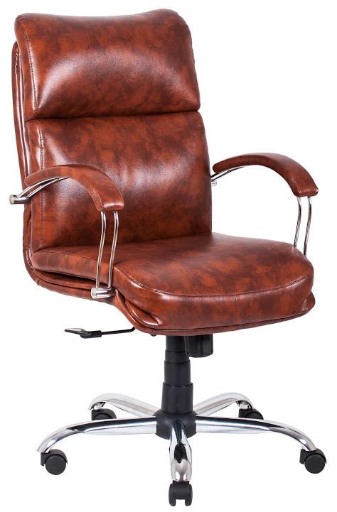 Кресло Дакота Хром механизм Tilt подлокотники Пластина, кожзаменитель Титан Виски (Richman ТМ)