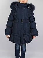 Пальто зимнее дев однотон  размеры с 4 - 8 лет размеры 104 - 128 см