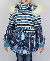 Пальто зимнее дж полоска  размеры с 4 - 7 лет размеры 104 - 122 см, фото 1